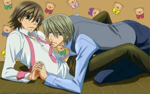 Rating: Safe Score: 8 Tags: akihiko_usami junjou_romantica male misaki_takahashi signed wallpaper yaoi User: charunetra