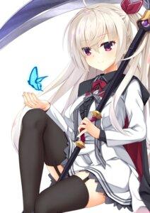 Rating: Safe Score: 66 Tags: akizuki_kanna cafe_stella_to_shinigami_no_chou log_(8kumagawa) skirt_lift stockings thighhighs weapon User: john.doe