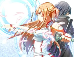 Rating: Safe Score: 24 Tags: asuna_(sword_art_online) kirito misoni sword sword_art_online User: mash