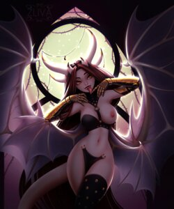 Rating: Questionable Score: 8 Tags: breasts devil horns maebari miranda_(zliva) monster_girl nipples no_bra nopan tail wings zliva User: dick_dickinson