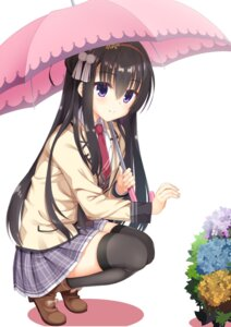 Rating: Safe Score: 23 Tags: log_(8kumagawa) nijouin_hazuki riddle_joker seifuku thighhighs umbrella User: john.doe