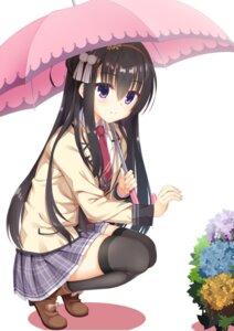 Rating: Safe Score: 26 Tags: log_(8kumagawa) nijouin_hazuki riddle_joker seifuku thighhighs umbrella User: john.doe
