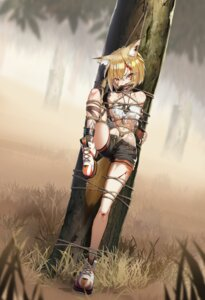 Rating: Questionable Score: 40 Tags: animal_ears arknights blood bondage shinebell tail torn_clothes vermeil_(arknights) User: Dreista
