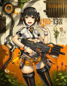 Rating: Safe Score: 30 Tags: gia gun headphones thighhighs underboob User: Radioactive