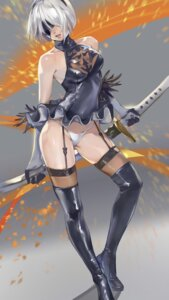 Rating: Questionable Score: 53 Tags: dress nier_automata pantsu skirt_lift stockings sword tagme thighhighs yorha_no.2_type_b User: Benawi3