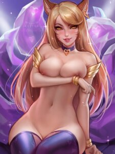 Rating: Questionable Score: 101 Tags: ahri animal_ears breast_hold daria_leonova league_of_legends naked nipples tail thighhighs User: charunetra