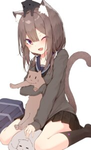 Rating: Safe Score: 38 Tags: animal_ears breast_hold mayogii neko nekomimi seifuku sweater tail User: yanis