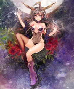 Rating: Safe Score: 52 Tags: cleavage duca heels horns see_through thighhighs torn_clothes User: Mr_GT