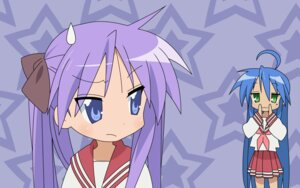 Rating: Safe Score: 8 Tags: hiiragi_kagami izumi_konata lucky_star seifuku wallpaper User: Radioactive