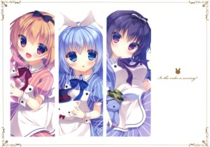 Rating: Safe Score: 44 Tags: gochuumon_wa_usagi_desu_ka? hoto_cocoa kafuu_chino peach_candy tedeza_rize tippy_(gochuumon_wa_usagi_desu_ka?) waitress yukie User: Twinsenzw
