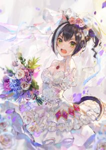 Rating: Questionable Score: 38 Tags: animal_ears cleavage dress fang_qiao karyl_(princess_connect) nekomimi no_bra princess_connect princess_connect!_re:dive skirt_lift tail wedding_dress User: yanis