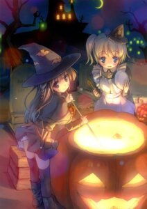 Rating: Safe Score: 43 Tags: halloween kogemashita maid takoyaki thighhighs witch User: fireattack
