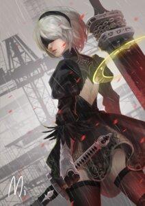 Rating: Safe Score: 12 Tags: dress mi_(630956686) nier_automata sword thighhighs yorha_no.2_type_b User: BattlequeenYume