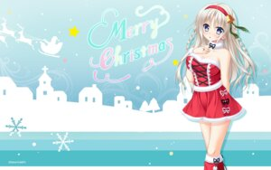 Rating: Safe Score: 45 Tags: aoi_suu christmas cleavage dress floral_flowlove matsumiya_kiseri saga_planets wallpaper User: Estraizher