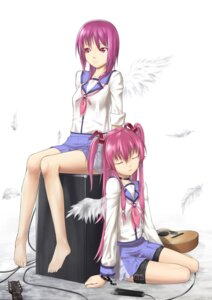 Rating: Safe Score: 18 Tags: angel_beats! iwasawa kira2yue seifuku wings yui_(angel_beats!) User: HTTmioyui