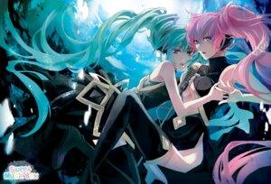 Rating: Safe Score: 33 Tags: hatsune_miku headphones megurine_luka rahwia thighhighs vocaloid User: charunetra