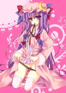Rating: Questionable Score: 46 Tags: matsumiya_kiseri panty_pull patchouli_knowledge skirt_lift thighhighs touhou User: blooregardo