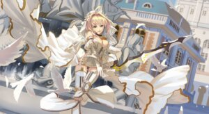 Rating: Safe Score: 14 Tags: fate/grand_order saber_bride saber_extra stockings sword thighhighs User: BattlequeenYume