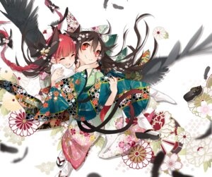 Rating: Safe Score: 40 Tags: animal_ears kaenbyou_rin kimono reiuji_utsuho tail touhou toutenkou wings User: Mr_GT