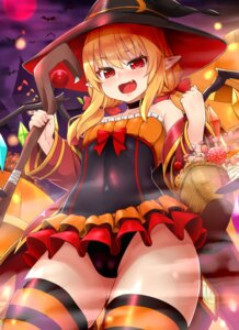 Rating: Questionable Score: 23 Tags: cameltoe flandre_scarlet halloween leotard loli pointy_ears shiron thighhighs touhou weapon witch User: Mr_GT