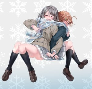 Rating: Safe Score: 13 Tags: love_live!_sunshine!! seifuku sweater tagme takami_chika watanabe_you yuri User: Spidey