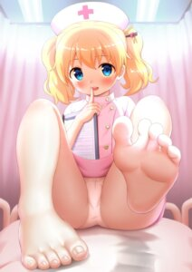 Rating: Questionable Score: 77 Tags: alice_cartelet cameltoe cedar_(artist) feet kin'iro_mosaic loli nurse pantsu skirt_lift User: yanis