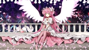 Rating: Safe Score: 24 Tags: cleavage dress heels kaname_madoka kyubey primcoco puella_magi_madoka_magica thighhighs wings User: charunetra
