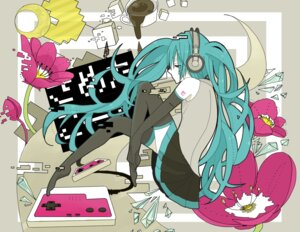 Rating: Safe Score: 9 Tags: hatsune_miku headphones miya_(aes) thighhighs vocaloid User: charunetra