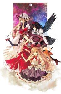 Rating: Safe Score: 11 Tags: hakurei_reimu hina ibuki_suika shameimaru_aya touhou wings yakumo_yukari User: Nekotsúh