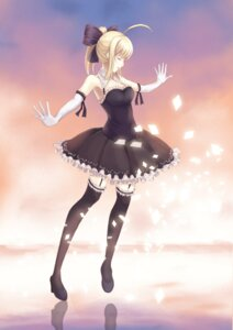 Rating: Safe Score: 59 Tags: cleavage dress fate/stay_night heels kuko_(artist) saber stockings thighhighs User: mash