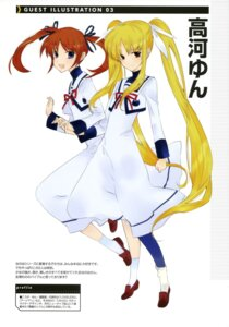 Rating: Safe Score: 7 Tags: fate_testarossa kouga_yun mahou_shoujo_lyrical_nanoha seifuku takamachi_nanoha User: drop