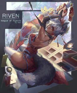 Rating: Questionable Score: 42 Tags: animal_ears armor bikini_top league_of_legends riven_(league_of_legends) sword tail tattoo underboob xiao_ji_(kair030) User: mash