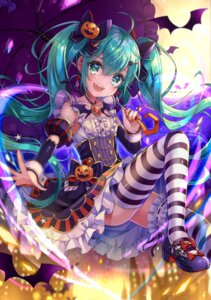 Rating: Safe Score: 52 Tags: dress halloween hatsune_miku heels shiori_(xxxsi) thighhighs umbrella vocaloid User: Mr_GT