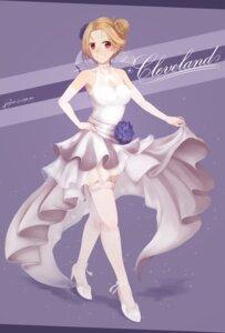 Rating: Safe Score: 25 Tags: azur_lane cleavage cleveland_(azur_lane) dress heels seyo_u skirt_lift thighhighs wedding_dress User: Mr_GT