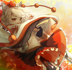 Rating: Safe Score: 28 Tags: animal_ears cleavage inubashiri_momiji namatyaba no_bra open_shirt sword touhou User: Mr_GT