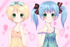 Rating: Safe Score: 12 Tags: dress hatsune_miku kagamine_rin vocaloid yoshikin User: charunetra