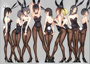 Rating: Questionable Score: 120 Tags: animal_ears ass breast_grab bunny_ears bunny_girl cleavage fishnets heels no_bra pantyhose tsukino_wagamo yuri User: Mr_GT