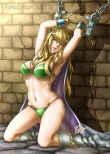 Rating: Questionable Score: 50 Tags: armor bikini_armor bondage celes_chere cleavage doppelgänger final_fantasy final_fantasy_vi heels signed User: mash