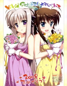 Rating: Safe Score: 49 Tags: cleavage dress fujima_takuya fuuka_reventon mahou_shoujo_lyrical_nanoha mahou_shoujo_lyrical_nanoha_vivid rinne_berlinetta vivid_strike! User: drop