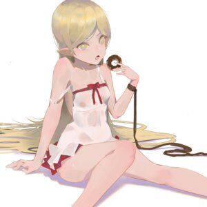 Rating: Questionable Score: 33 Tags: bakemonogatari dress loli no_bra oshino_shinobu pointy_ears see_through summer_dress tatatsu wet_clothes User: YajuuSenpai