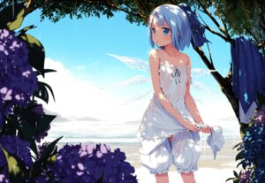 Rating: Questionable Score: 209 Tags: bloomers cirno dress gekidoku_shoujo ke-ta loli no_bra nopan see_through touhou wet wet_clothes wings User: 椎名深夏