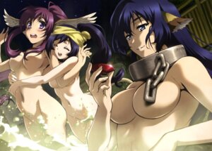 Rating: Questionable Score: 80 Tags: animal_ears karura kuon_(utawarerumono) naked onsen sake touka utawarerumono_itsuwari_no_kamen wet User: drop
