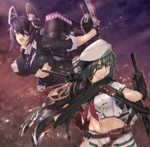Rating: Safe Score: 35 Tags: erect_nipples eyepatch kantai_collection kiso_(kancolle) no_bra nopan seifuku sword tenryuu_(kancolle) thighhighs torn_clothes underboob yui.h User: saikisama