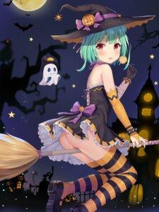 Rating: Questionable Score: 50 Tags: ass dress halloween heels hokori_sakuni hololive nopan skirt_lift thighhighs uruha_rushia witch User: Mr_GT