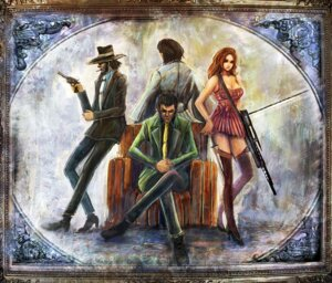 Rating: Safe Score: 2 Tags: arsene_lupin_iii bccp business_suit cleavage dress gun heels ishikawa_goemon_xiii jigen_daisuke kimono lupin_iii mine_fujiko smoking thighhighs weapon User: charunetra
