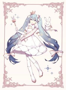 Rating: Safe Score: 35 Tags: dress hatoichi_reno hatsune_miku pantyhose vocaloid yuki_miku User: RyuZU