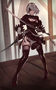 Rating: Safe Score: 28 Tags: cleavage dress memoirs nier_automata pantsu sword thighhighs yorha_no.2_type_b User: mash