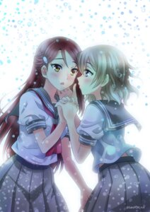 Rating: Safe Score: 20 Tags: love_live!_sunshine!! sakurauchi_riko sato-pon seifuku watanabe_you yuri User: animeprincess
