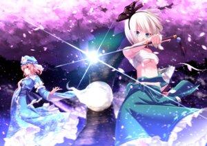 Rating: Safe Score: 59 Tags: aono_meri konpaku_youmu saigyouji_yuyuko sarashi sword touhou underboob User: Mr_GT