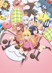 Rating: Safe Score: 60 Tags: chisaki_tapris_sugarbell cleavage gabriel_dropout horns iinchou_(gabriel_dropout) kurumizawa_satanichia_mcdowell master_(gabriel_dropout) seifuku shiraha_raphiel_ainsworth sweater tenma_gabriel_white tsukinose_vignette_april weapon User: blooregardo